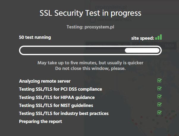 Certyfikat SSL wynik testu
